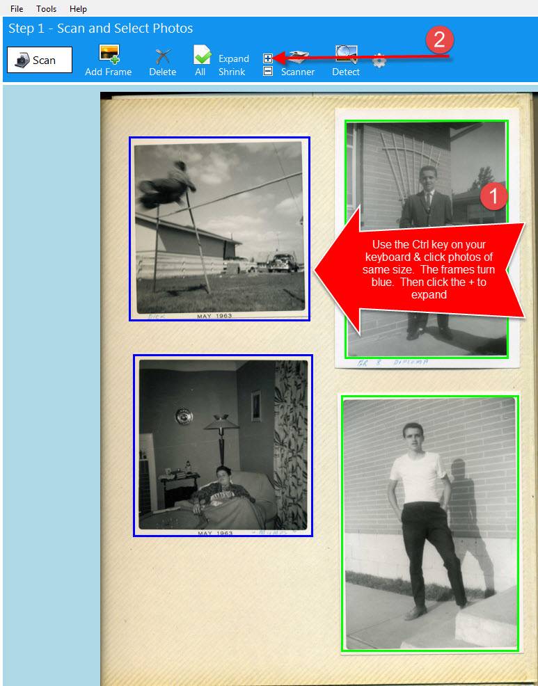 scan photos with different borders using expand plus