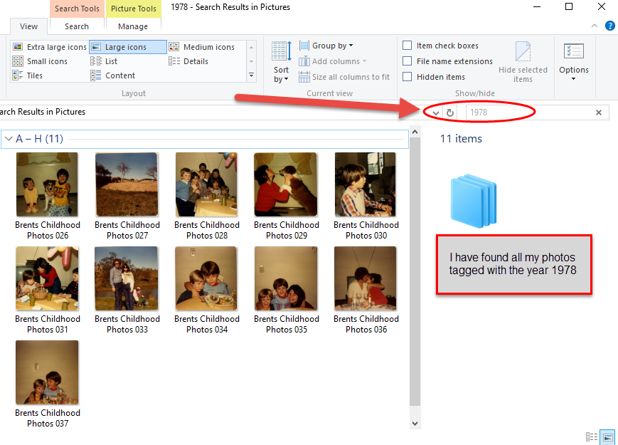search scanned photos with file explorer