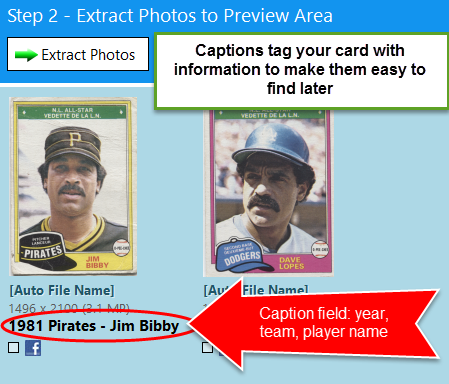 caption tags sport card
