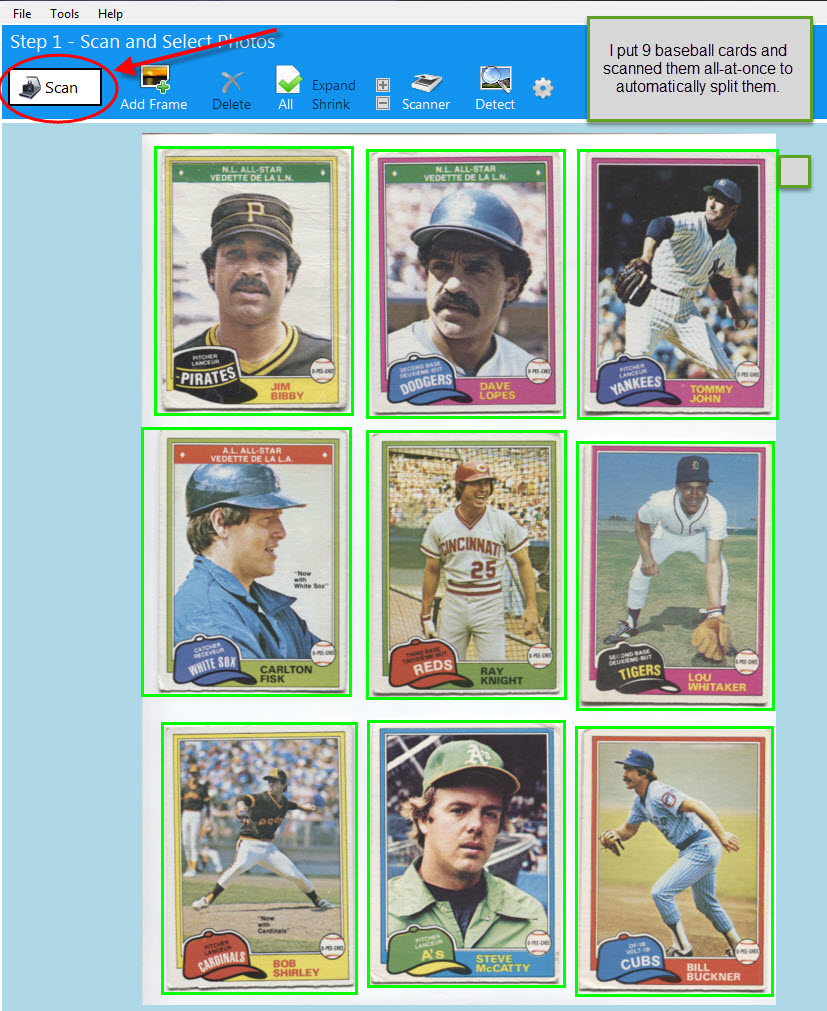 scan baseball cards